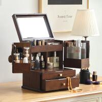 化妆品收纳盒桌面置物架木护肤品口红神器梳妆台首饰盒防尘抖音款 大号