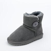 儿童雪地靴女真皮男女小中大童加绒加厚宝宝保暖棉鞋平底防滑靴子