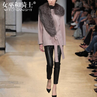 女巫2017冬装新款欧美大毛领名媛套装女时尚气质小脚裤两件套女装