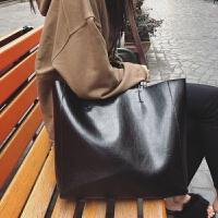 2018新款明星同款包包chic大包女包简约托特包手提包大容量单肩包SN4104 黑色(升级版帆布内袋)