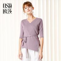 【2件6折,叠加券】OSA欧莎2017秋装新款女装V领系带收腰简约针织衫女C16017