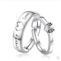 一对韩版创意订婚礼物 S925纯银爱心形男女对戒情侣戒指开口可调节