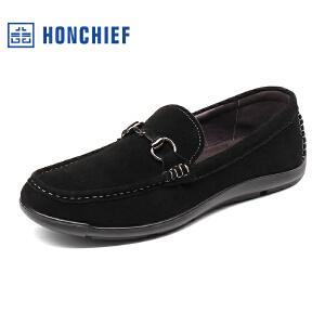 HONCHIEF 红蜻蜓旗下2017秋季真皮时尚休闲鞋潮流驾车鞋豆豆男鞋
