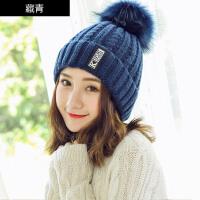 帽子女秋冬韩版加绒毛线帽加厚冬天套头保暖护耳潮毛球时尚百搭针织帽