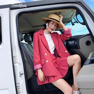 西装套装女春时尚两件套2018新款潮上衣配裙子洋气省心搭配女装 树莓粉【外套】 S 发货周期:一般在付款后2-90天左右发货,具体发货时间请以与客服协商的时间为准