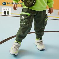 迷你巴拉巴拉男童纯棉长裤工装裤2020冬装弹力保暖童趣可爱裤子