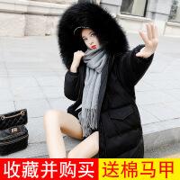 反季棉衣女冬装外套2018新款毛领韩版中长款加厚休闲学生棉袄