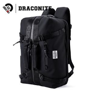 DRACONITE男士潮牌手提双肩两用黑色双肩包pu防水时尚背包