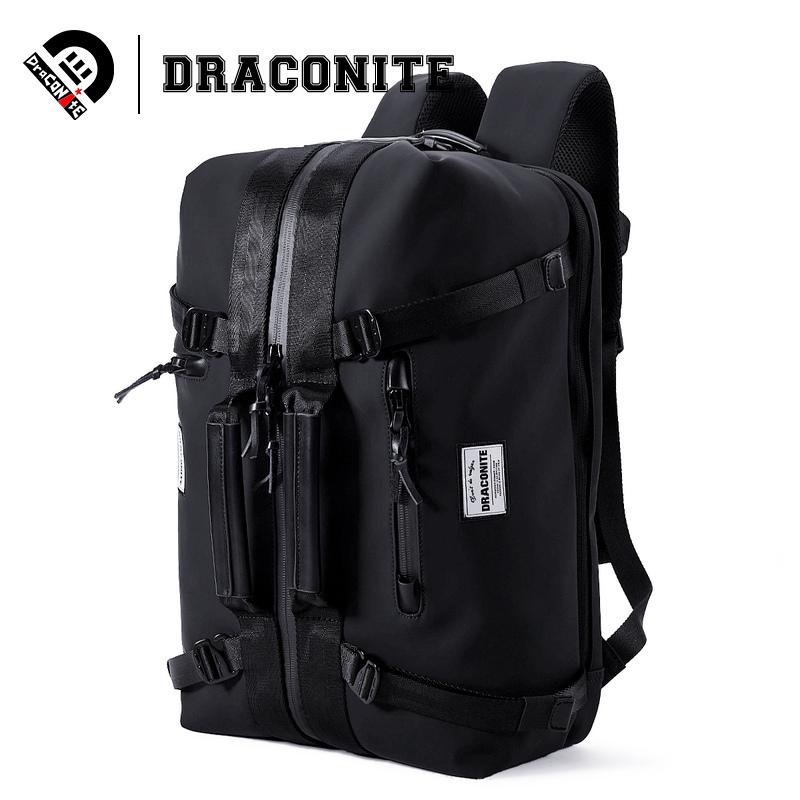 DRACONITE男士潮牌手提双肩两用黑色双肩包pu防水时尚背包手提双肩背皆可以