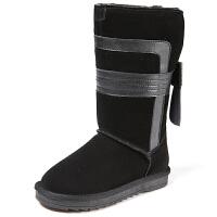 女童靴子秋长靴雪地靴2017新款季加绒真皮长筒靴高筒棉鞋