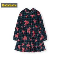 巴拉巴拉童装儿童连衣裙2019新款秋冬女童裙子中大童丝绒长袖复古
