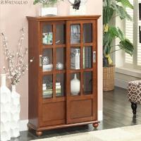 美式小书柜带门推拉门储物柜简约现代玻璃门简易书架收纳柜子 0.8-1米宽