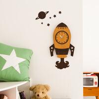 艺术挂钟北欧客厅个性创意时尚钟表欧式客厅时钟静音大号火箭装饰家居挂钟卧室创意墙壁钟表 浅棕色 赠送相框 14英寸