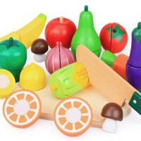 水果切切看切切乐木制桶装儿童女孩益智过家家 宝宝玩具1-2-3周岁