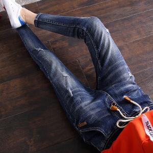 Freefeel 2018春夏季新款哈伦磨破牛仔裤女松紧腰韩版弹力小脚裤显瘦铅笔裤oy3088