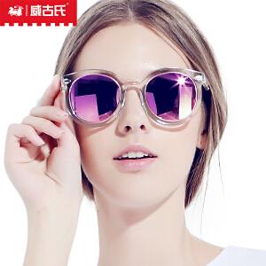 威古氏偏光太阳镜女潮墨镜圆脸大框彩膜长脸开车个性眼镜