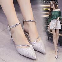 韩版尖头细跟中空凉鞋女中跟单鞋婚鞋一字式扣带低跟鞋银色高跟鞋 银色 4厘米