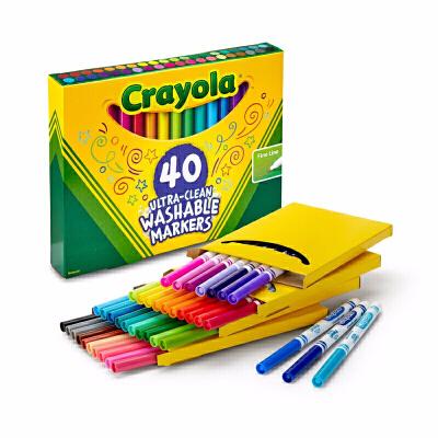 Crayola绘儿乐 58-7861 可水洗40色细杆水彩笔 当当自营