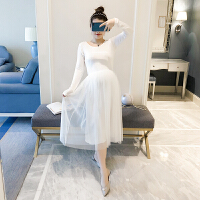 孕妇春装时尚款2018新款打底裙中长款显瘦A字裙拼网纱长袖连衣裙 均码