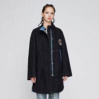 d'zzit地素 18春专柜新款拼接贴绣中长羊毛大衣毛呢外套3F1G3011T