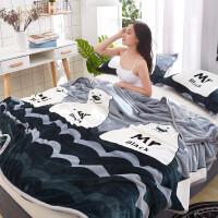 毛毯家纺加厚云貂绒毯法兰绒毯子床单水晶绒午睡空调毯毛巾被珊瑚绒盖毯花色随机 150*200cm