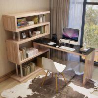 转角书桌简约台式电脑桌家用办公桌多功能简易桌子书桌书架组合