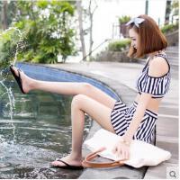 新款个性轻薄透气 小胸聚拢性感显瘦罩衫 分体裙式条纹比基尼泳衣女四件套