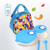 特百惠饭盒 便携午餐套装2件套 塑料便携微波分隔菜饭分离便当盒