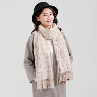 围巾女冬季长款韩版百搭学生格子围脖 时尚双面仿羊绒加厚保暖围巾