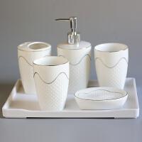 20190821033145440欧式浮雕卫浴洁具五件套洗漱套装浴室用品套件漱口杯陶瓷浴室用品