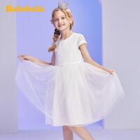 巴拉巴拉女童连衣裙儿童裙子2020新款夏装大童公主裙蕾丝裙洋气女