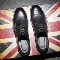 DAZED CONFUSEDU 春夏季潮鞋布洛克雕花男鞋英伦风厚底男士休闲皮鞋男系带单鞋子