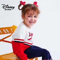 迪士尼宝宝重返学院女童撞色针织卫衣2018秋款上新