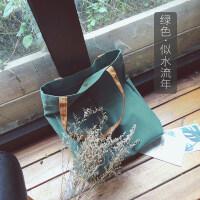 帆布包女单肩学生韩版原宿文艺小清新手提袋环保购物布袋 纵向中号