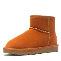 冬季雪地靴女2018新款短筒真皮短靴加�q�n版百搭�W生靴子加厚防滑