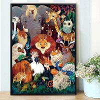 十字绣绣客厅竖版玄关儿童卡通动物世界卧室简单小幅线绣家居日用家装软饰手工十字绣