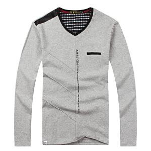 伯克龙 男士春秋新款纯棉修身V领长袖T恤 男装简约纯色时尚t恤大码打底衫B56600