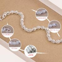 纯银手链女简约流行圆珠手链 女士饰品送闺蜜朋友生日礼物