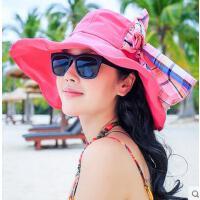 可折叠大沿沙滩帽帽子夏天韩版棉麻太阳帽女士防晒遮阳帽防紫外线