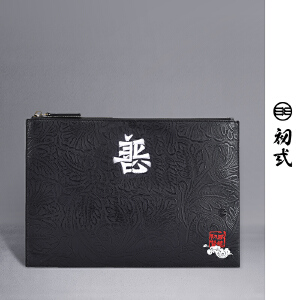 【支持礼品卡支付】初�q潮牌黑白善恶刺绣时尚钱包手拿包男信封包女手抓包