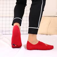 2018本命年袜子 男女全棉红色踩小人隐形袜 情侣船袜红袜子 均码