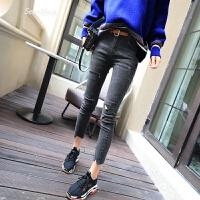 牛仔裤女小脚春装新款女装2018韩版潮款时尚破洞铅笔裤女裤子黑色 黑色