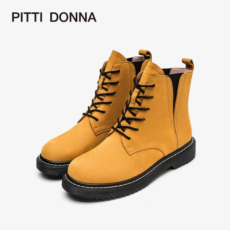 PITTI DONNA秋冬圆头低跟时尚系带马丁靴女短靴9T54905 圆头 系带 马西靴