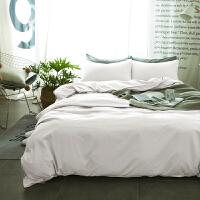 君别纯色床上用品1.5磨毛床单被套三件套1.8米床笠网红四件套 白色 -单色 0.8~1.2m宽床(被套配150*20