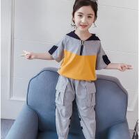 夏装韩版洋气潮童装儿童连帽短袖长裤两件套女童运动套装