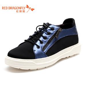 红蜻蜓男鞋 春秋新款运动户外休闲鞋轻质舒适莱卡布皮拼接皮鞋