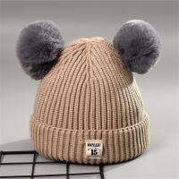 秋冬新款儿童毛线针织帽毛球帽子婴儿保暖帽宝宝可爱球球护耳帽子