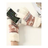 秋冬季针织小鹿毛线触屏保暖手套加厚毛绒分指学生女冬天可爱韩版 均码