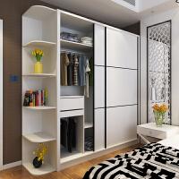 20190402232116951整体组装现代黑白色条纹大衣柜推拉移门衣橱定制定做家具 2门
