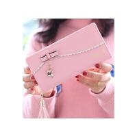 女士长款钱包潮可爱时尚约大气韩版小清新学生拉链钱夹 粉红色 长款
